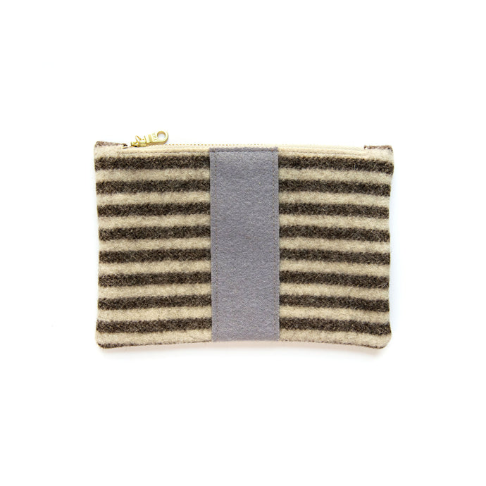 Small Wool Zip Pouch in Brown Stripe