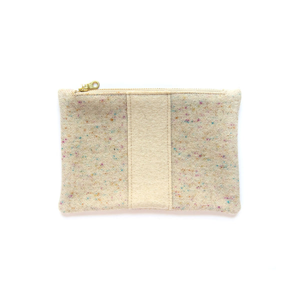 Small Wool Zip Pouch in Confetti