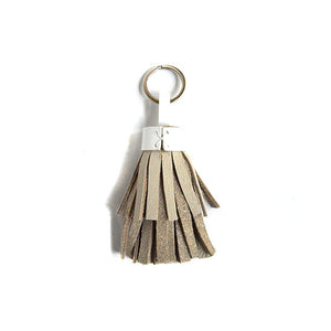 Blush shimmer leather tassel keychain