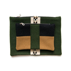 Army Green Wool Pouch Set (Stripe)