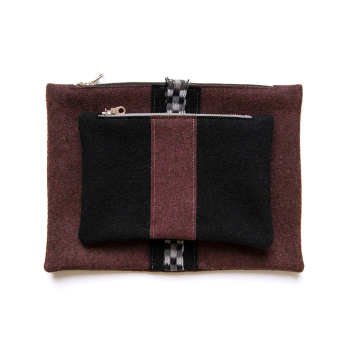 Cherry Wool Pouch Set (Stripe)