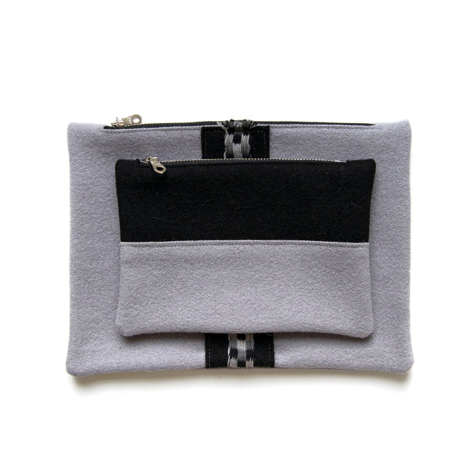 Ice Blue Wool Pouch Set (Color Block)