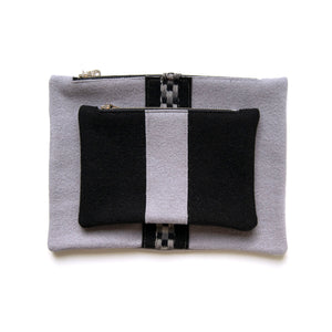 Ice Blue Wool Pouch Set (Stripe)