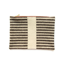 Load image into Gallery viewer, Wool Zip Pouch in Brown Stripe