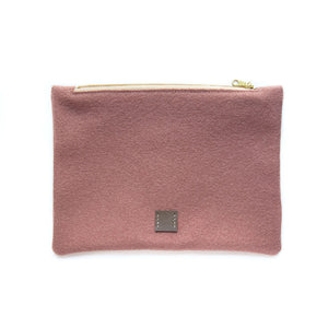 Wool Zip Pouch in Dusty Rose