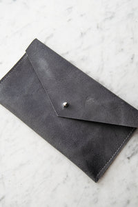 Leather Envelope Clutch in Slate Blue