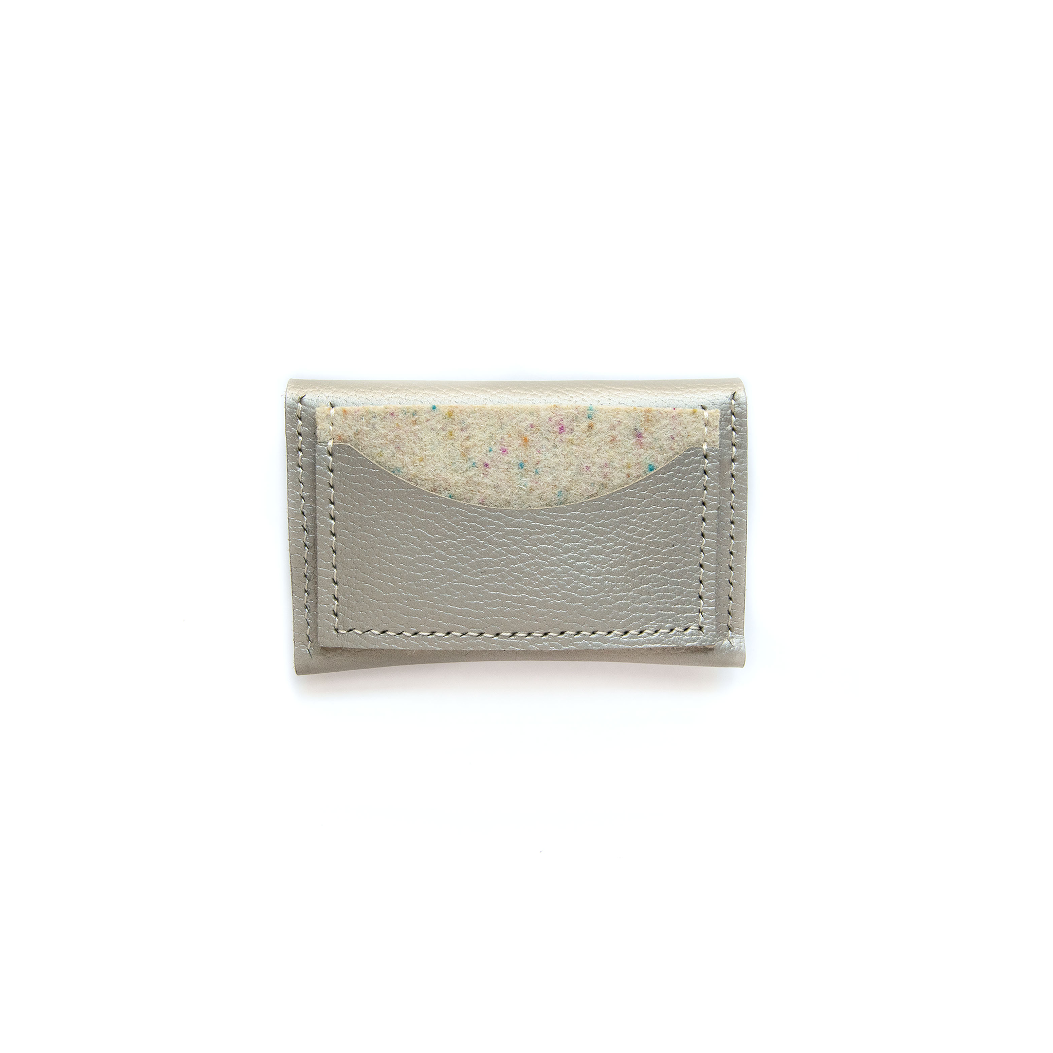 Half Moon Leather Card Holder in Pearl & Confetti