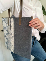 Load image into Gallery viewer, One-of-a-Kind Snake Print Leather & Wool Bag
