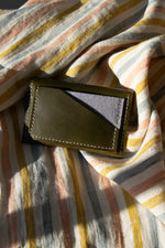 Load image into Gallery viewer, Geometric Leather Card Holder in Olive Green