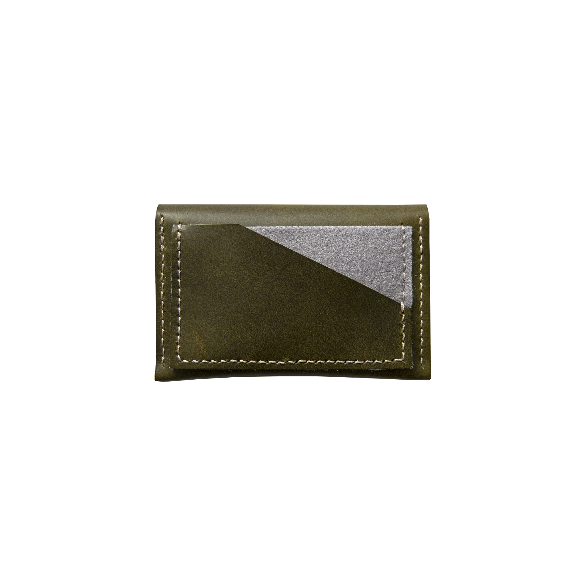 Geometric Leather Card Holder in Olive Green