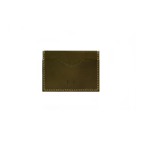 Slim Leather Card Holder in Olive Green