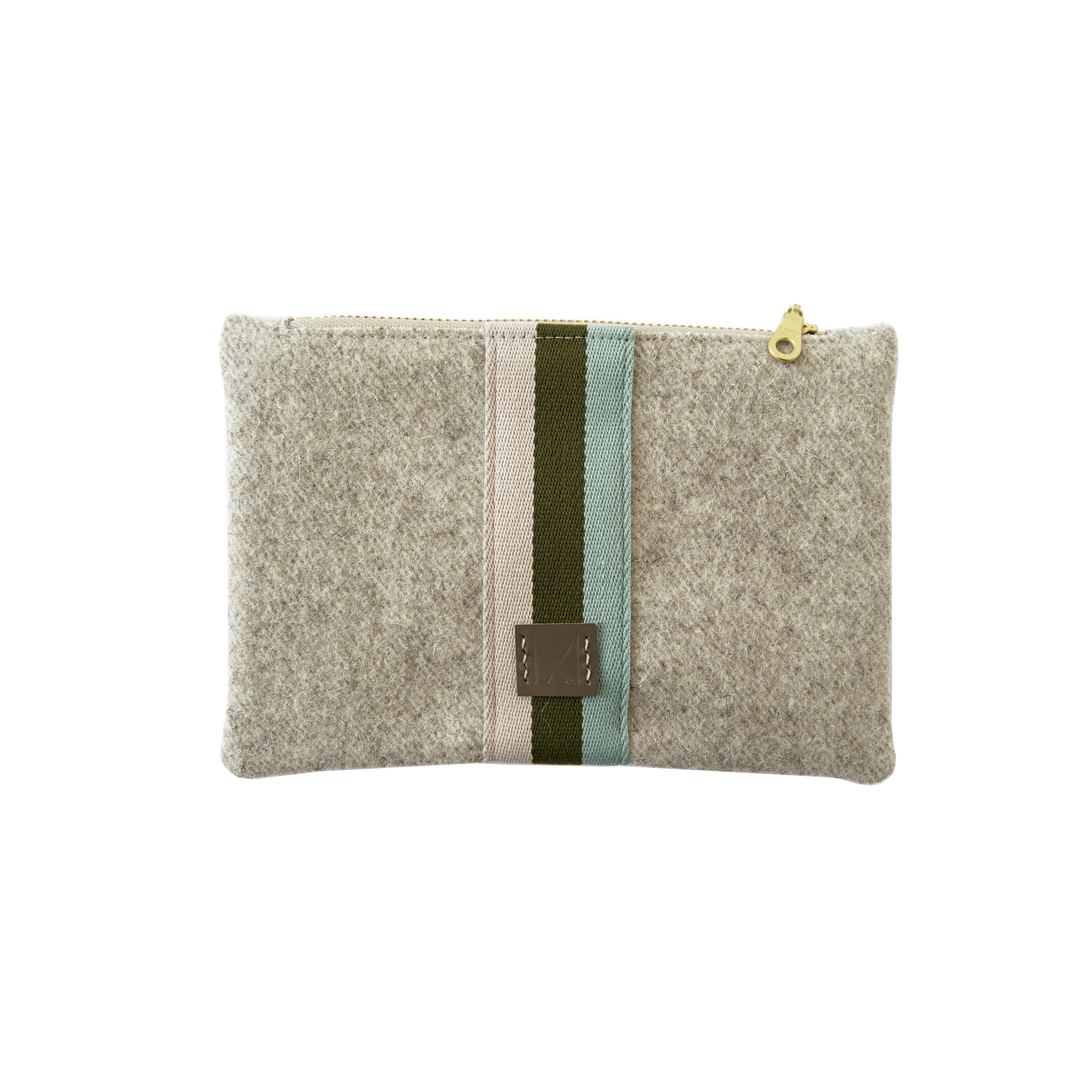 Small Wool Zip Pouch in Wheat