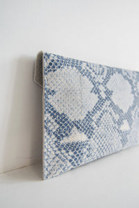 Leather Envelope Clutch in Snake Print