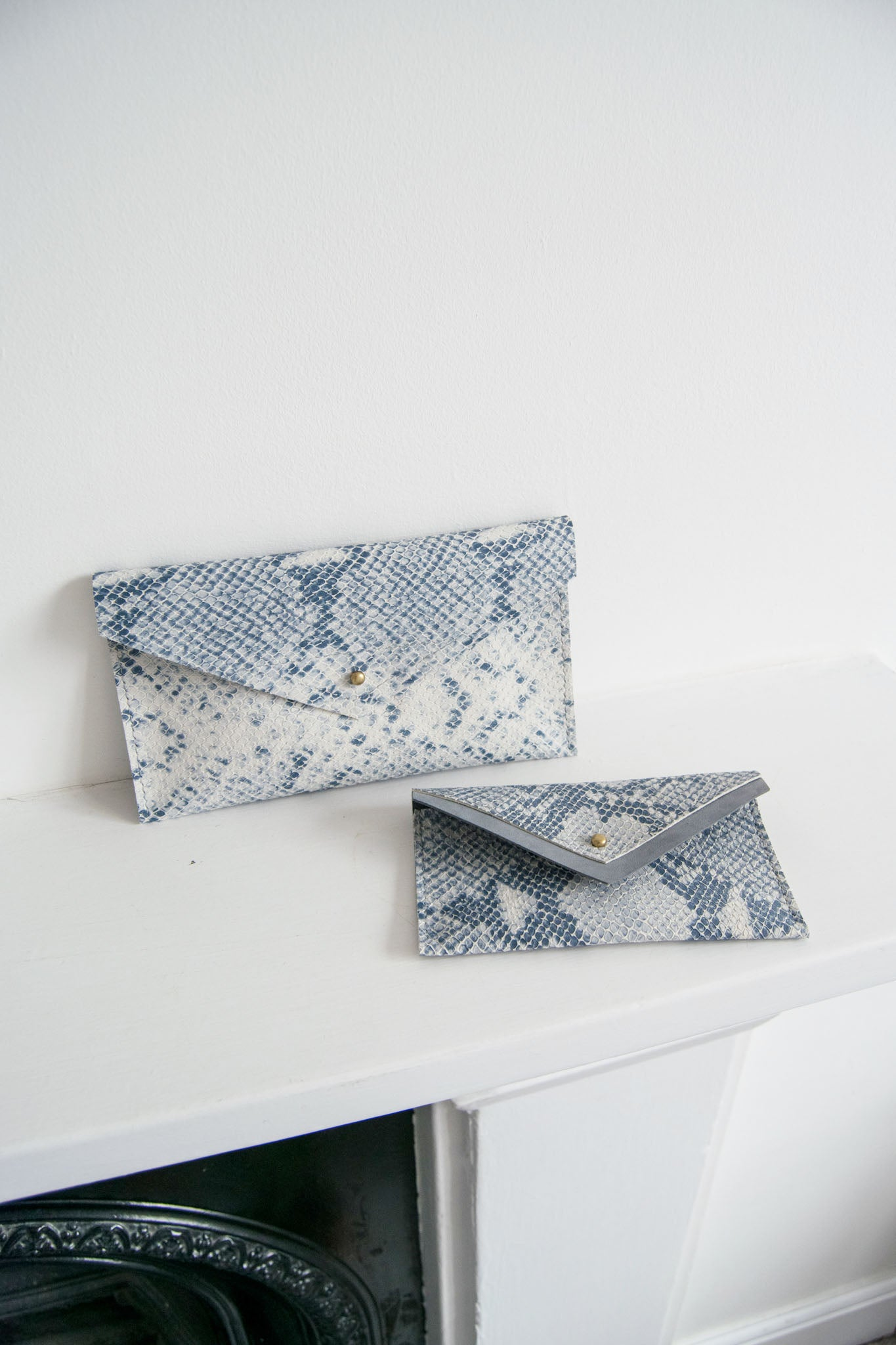 Small Leather Envelope Pouch in Snake Print