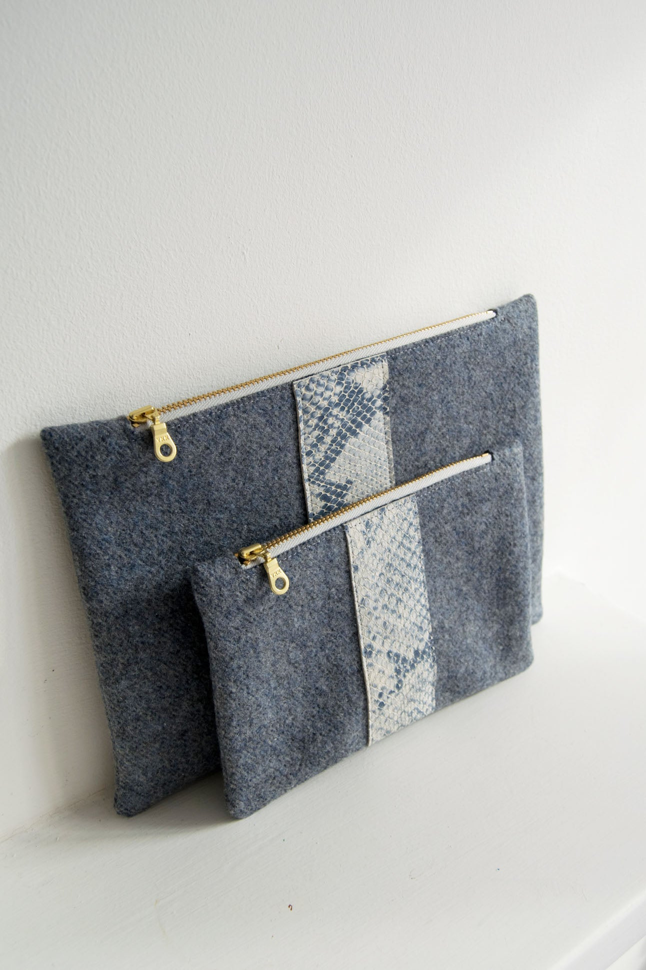 Snake Print Small Wool Zip Pouch