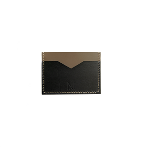 Slim Leather Card Holder in Black & Taupe