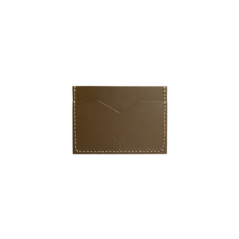 Slim Leather Card Holder in Taupe