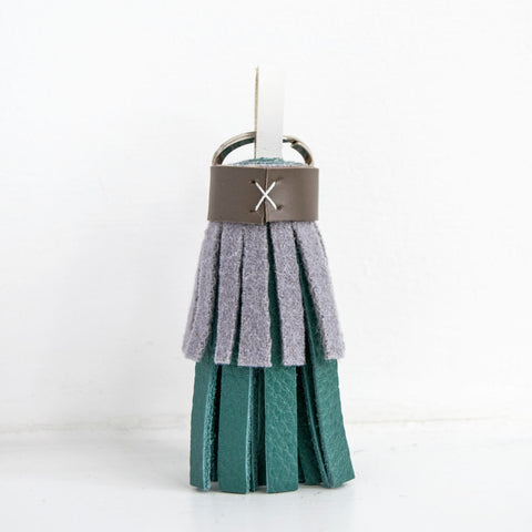 Tassel Keyring in Teal & Ice