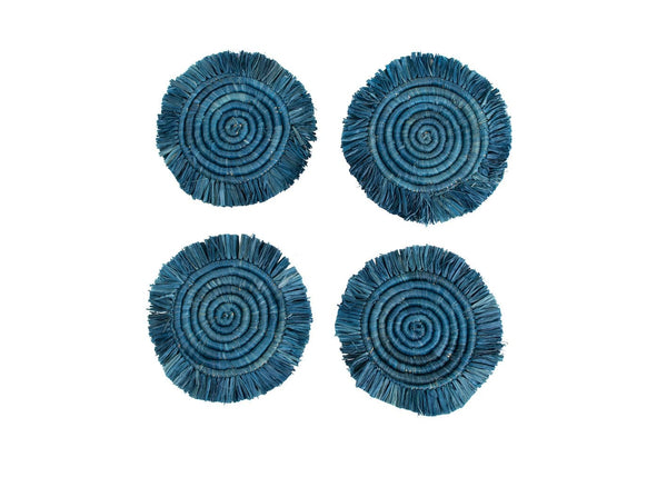 Raffia Niagara fringed Coasters. Set of 4