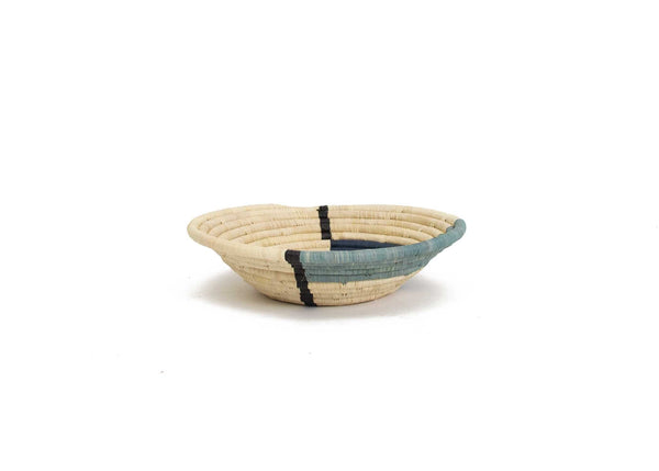 Raffia Bowl Geo Blue Night Medium