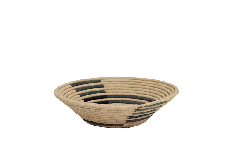 Raffia Bowl Opal Gray Geo Large