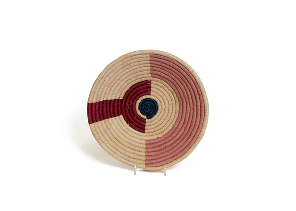 Raffia Bowl Burgundy Arc & Dot Medium
