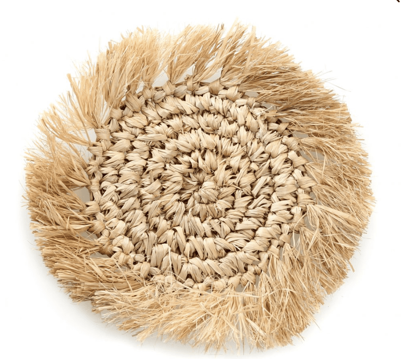 Raffia Coasters with fringes