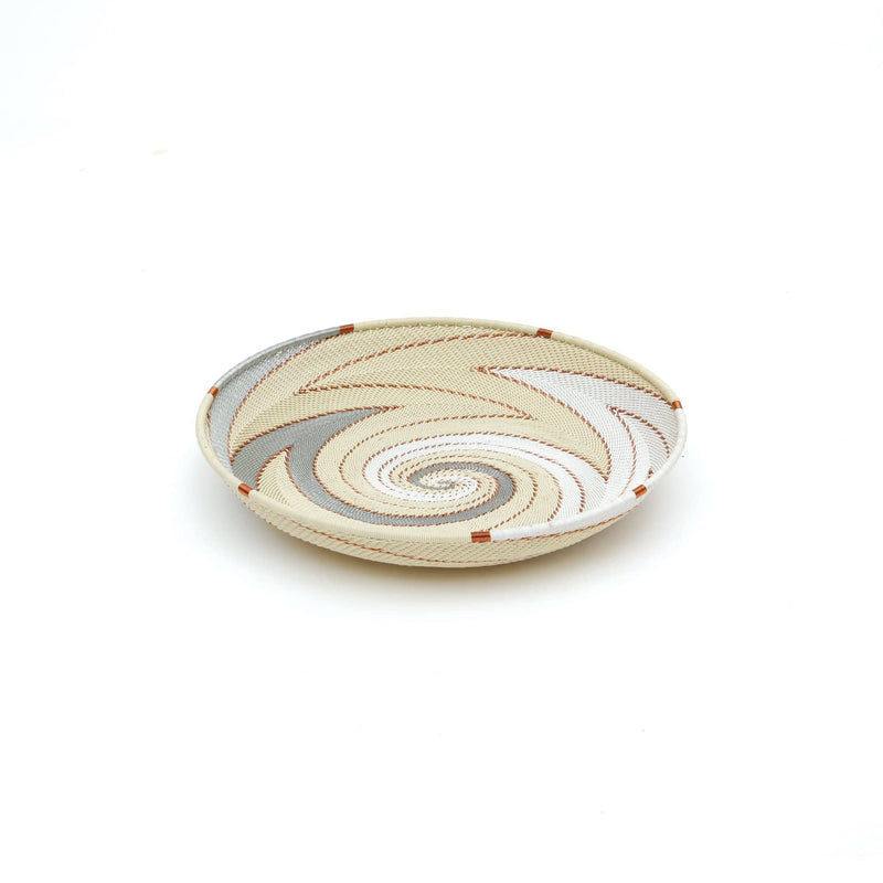 "Handwoven Round Tray ""Ivory"""