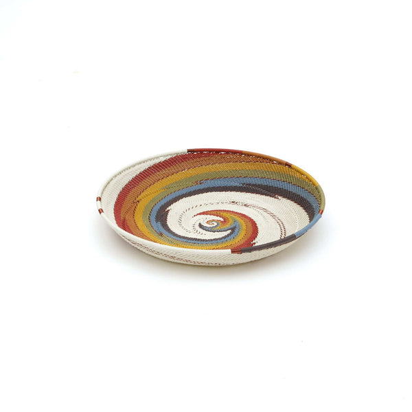 "Handwoven Round Tray ""Mountain Rainbow"""