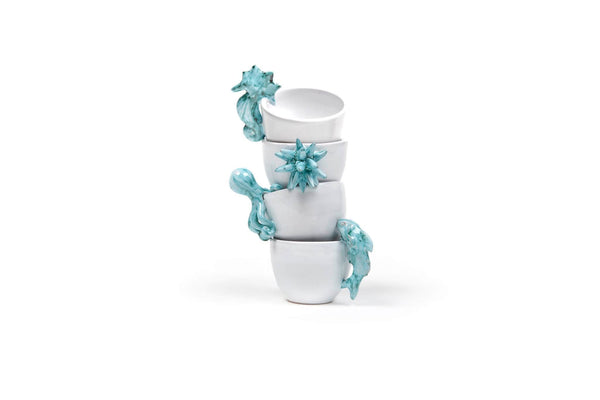"Ceramic Espresso Cups ""MARE"" Set of 4"