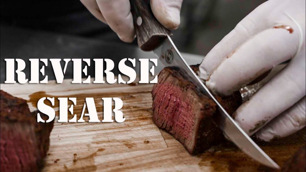 cutting into finished reverse sear steak