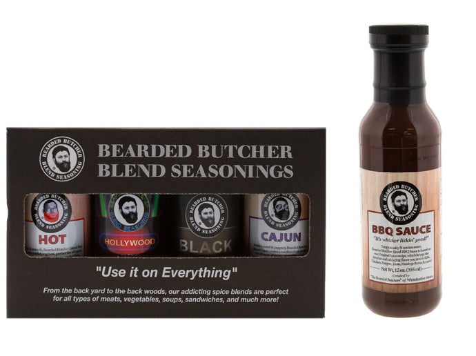 Bearded Butcher Blend Seasoning Variety 4 Pack with Sauce