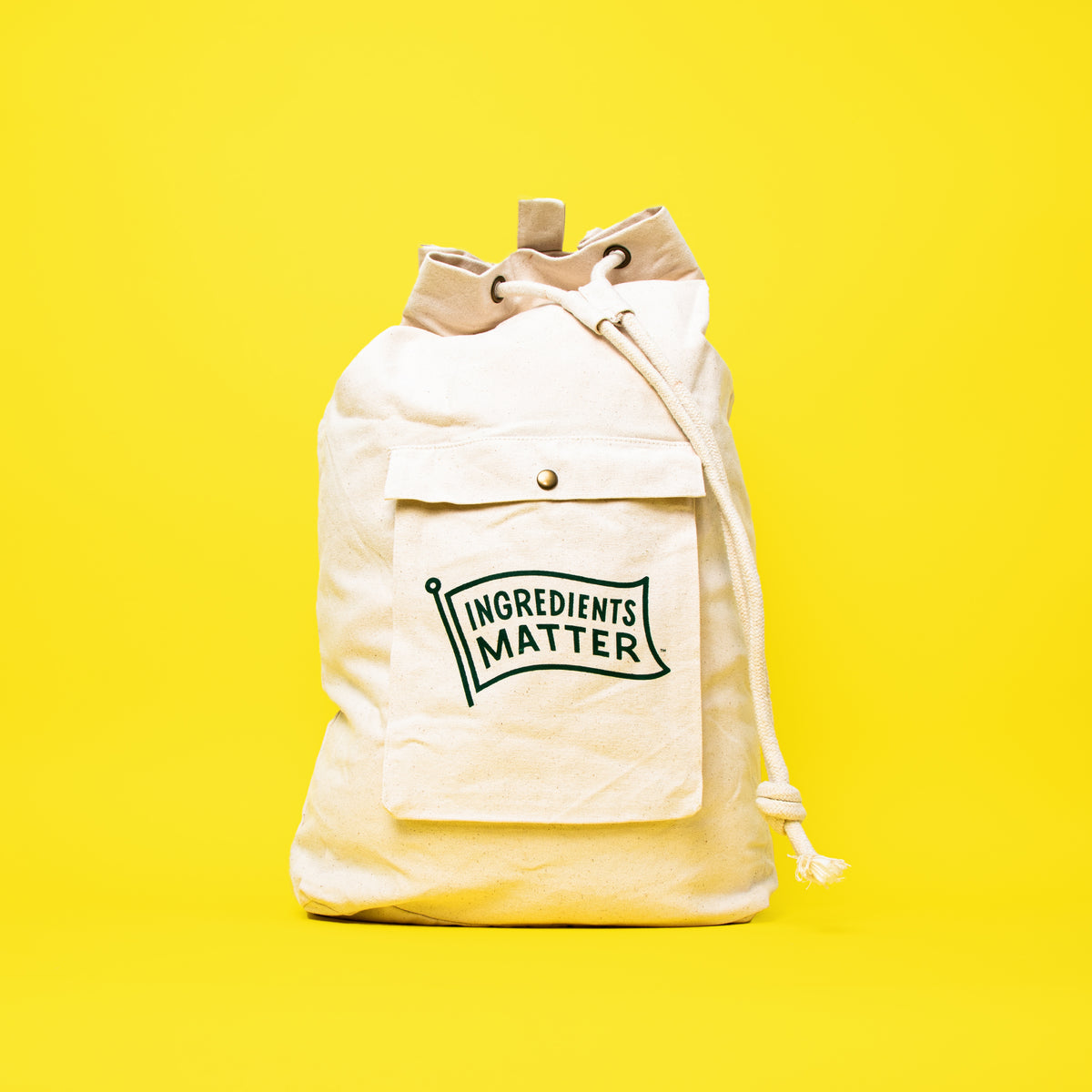 canvas laundry bag with Ingredients Matter logo