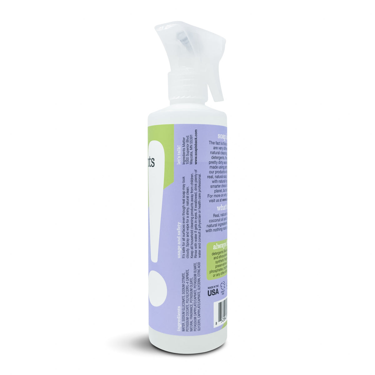 All Purpose Cleaner, Lavender, side of bottle with spray nozzle