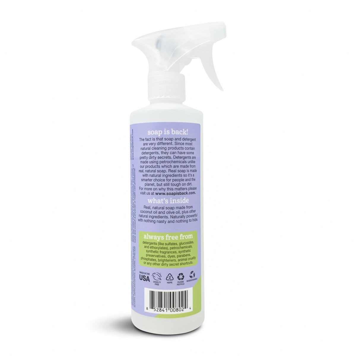 All Purpose Cleaner, Lavender, back of bottle with spray nozzle