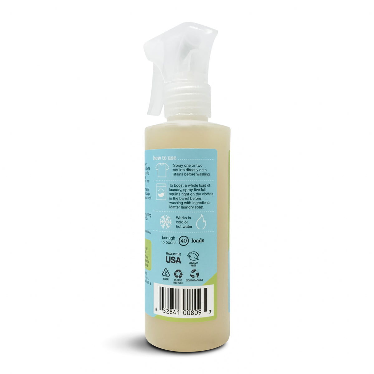 Laundry Booster and Stain Eliminator, Fragrance-free, back of bottle with spray nozzle