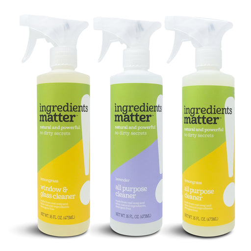 Three all-purpose spray cleaner bottles in a row