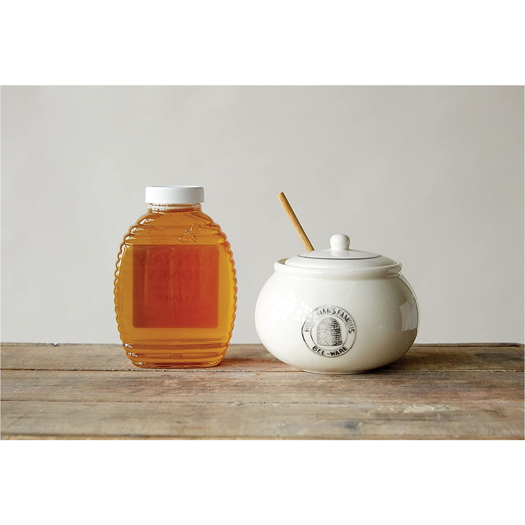 White Honey Jar & Dipper