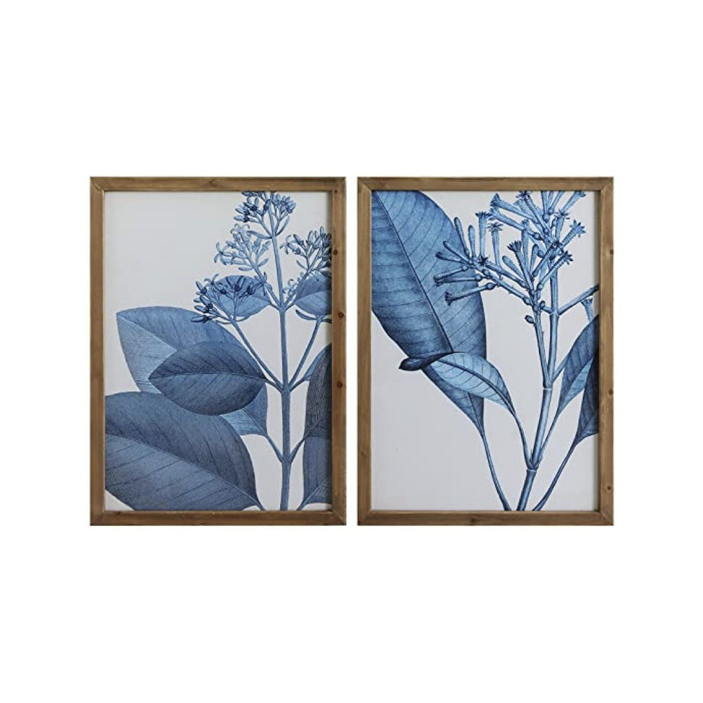 Wood Framed Blue Botanical Wall Decor