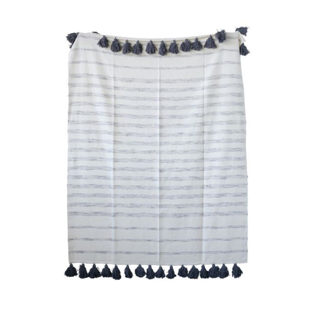 Grey Striped Throw with Tassels