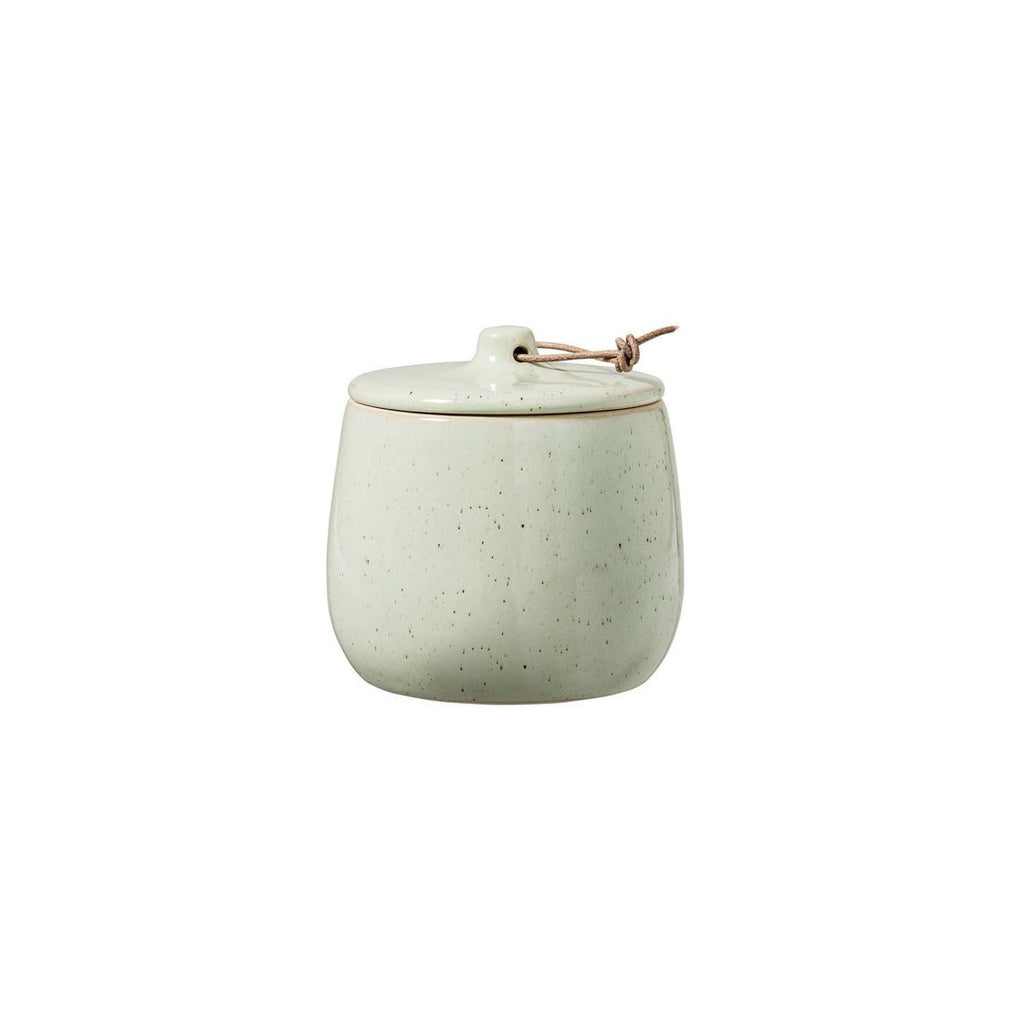 Green Stoneware Canister with Leather Tie