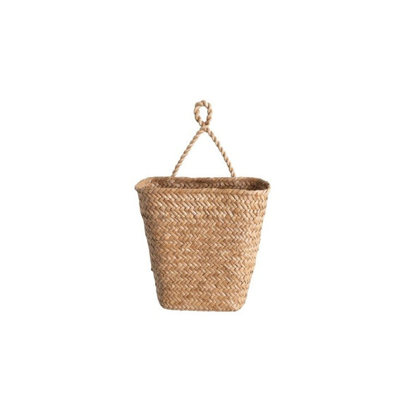 Hand-Woven Hanging Seagrass Wall Basket