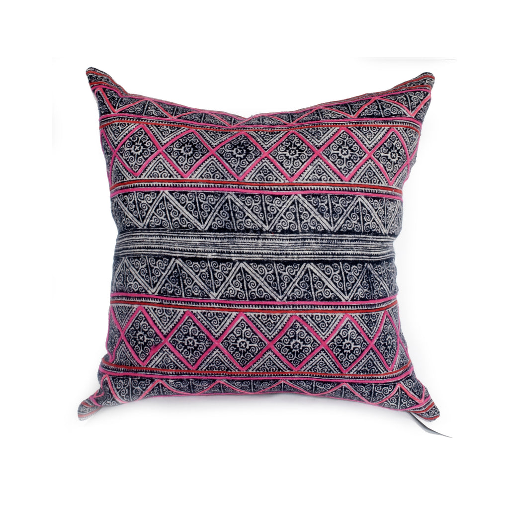 Vintage Tribal Batik Pillow / Pink