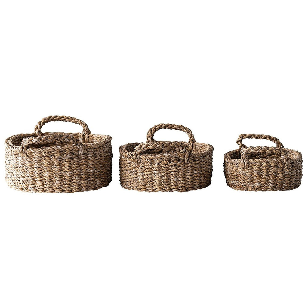 Oval Natural Woven Seagrass Baskets with Handles