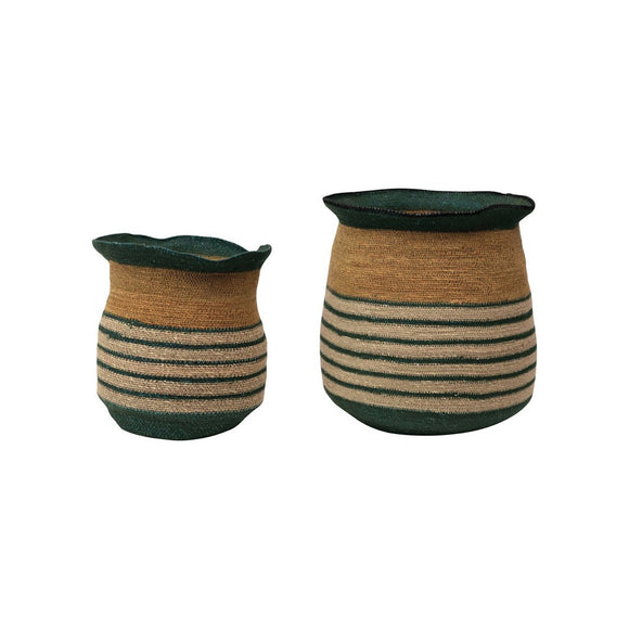 Striped Seagrass Basket