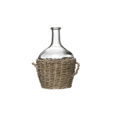 Woven Seagrass Wrapped Bottle