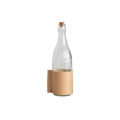 Leather Wrapped Glass Bottle