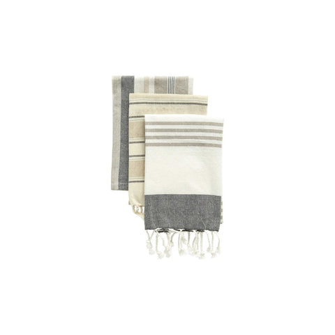 Set of 3 Cotton Striped Towels