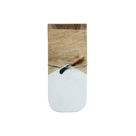 Marble & Mango Wood Cutting Board with Canape Knife