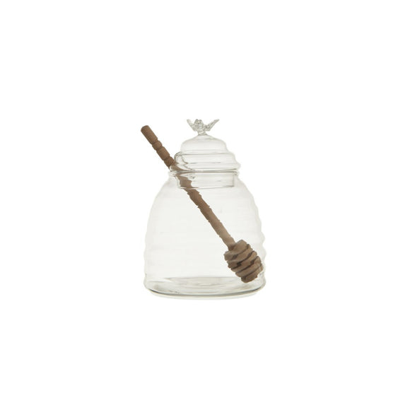 Glass Honey Jar with Wood Honey Dipper